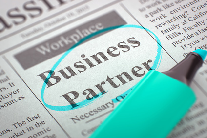 Business Partner. Newspaper with the Vacancy, Circled with a Azure Highlighter. Blurred Image with Selective focus. Job Seeking Concept. 3D Rendering.